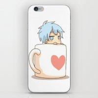 kuroko iPhone & iPod Skins featuring Chibi Kuroko in a Mug by Prince Of Darkness