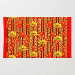 Red Oriental Style Poppies & Daffodils Pattern Rug