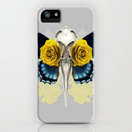 Bird skull and yellow roses iPhone Case