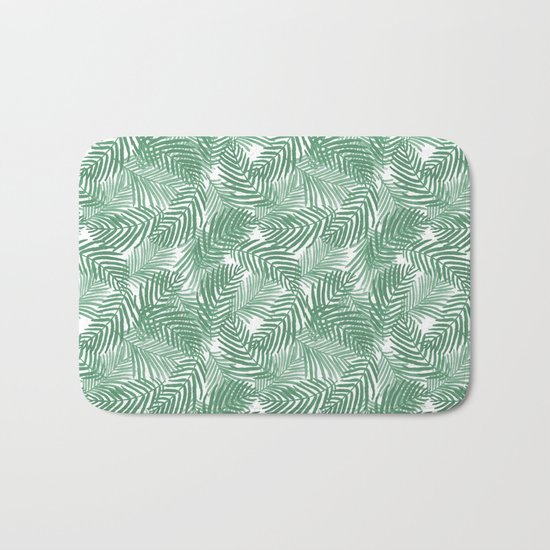 Palm frond tropical vacation green white house plant gender neutral natural organic garden island Bath Mat