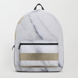 Smokey marble and gilded striped accents Backpack