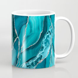 Ocean Waves Marble Teal Coffee Mug