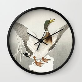 Duck in the snow  - Vintage Japanese Woodblock Print Art Wall Clock