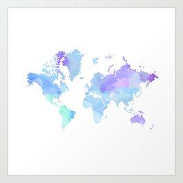 BLUE WATERCOLOR TRAVEL MAP Art Print