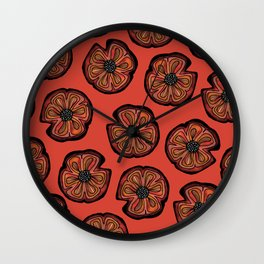 Rusted Poppy Pattern - red and brown poppies autumn fall Wall Clock