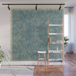 Antique rustic teal damask fabric Wall Mural