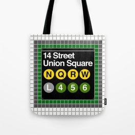subway union square sign Tote Bag