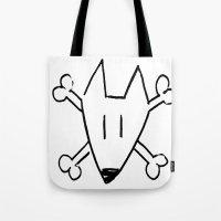 bull terrier Tote Bags featuring Bull Terrier Skull by Chiaris