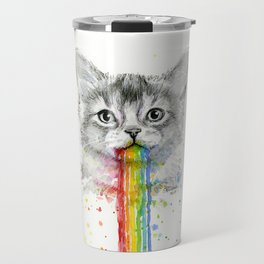 Kitten Puking Rainbows Cat Rainbow Vomit Travel Mug