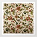 Red Green Jacobean Floral Embroidery Pattern by vickybragomitchell