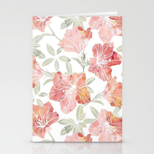Peach pink azaleas Stationery Cards
