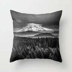 Mt Hood Black and White Mountain Throw Pillow