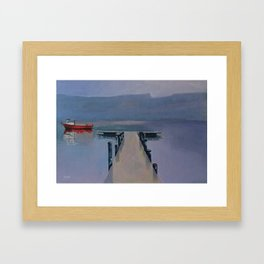 Red boat on Coniston Framed Art Print