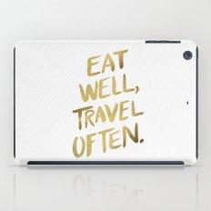 Eat Well Travel Often on Gold iPad Case