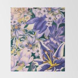 flowers blue  art #flowers #flora Throw Blanket