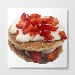 pancakes_strawberries_and_whip_cream Metal Print