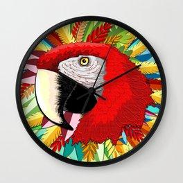 Macaw Parrot Paper Craft Digital Art Wall Clock