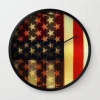 american flag Wall Clocks featuring American Flag by Adam Reynolds