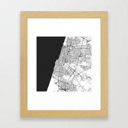 Tel Aviv Map Gray Framed Art Print