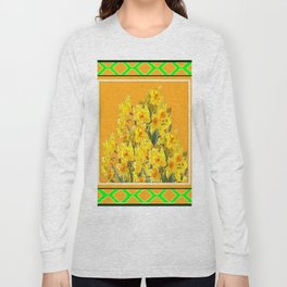 SPRING GREEN YELLOW DAFFODIL GARDEN ART PATTERN Long Sleeve T-shirt