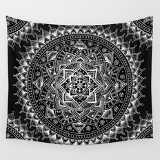 White Flower Mandala on Black Wall Tapestry