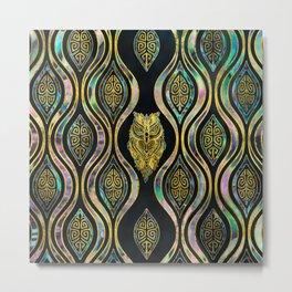 Gold Tribal Owl on Boho Abalone Pattern Metal Print