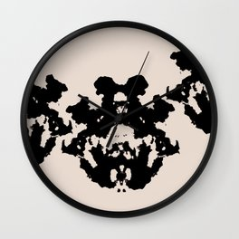 Black Rorschach inkblot Wall Clock