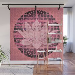 Pink Luminous Techno Lotus Wall Mural