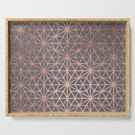 Modern rose gold stars geometric pattern Christmas grey graphite concrete industrial cement Serving Tray
