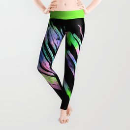 Abstract pink teal lime green black watercolor brushstrokes Leggings