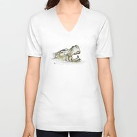 hippo V-neck T-shirts featuring Hippo by Ursula Rodgers
