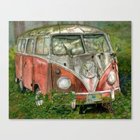 volkswagon Canvas Prints featuring VW Bus in the Woods by Barb Laskey Studio