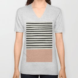 Peach x Stripes Unisex V-Neck