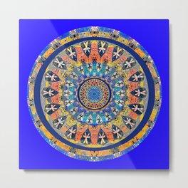African Vintage Fabric Spirit World Mandala Metal Print