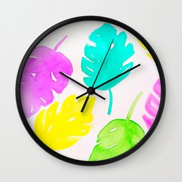 Colorful Monstera Watercolor Leaves Wall Clock