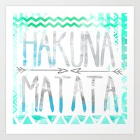 hakuna Art Prints featuring Hakuna Matata by Sara Eshak