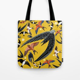 Swallows Martins and Swift pattern Yellow Tote Bag