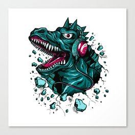 Dino with Headphones Green Cyprus Canvas Print