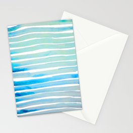 New Year Blue Water Lines Stationery Cards