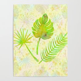 Tropical Leaf Watercolor Painting, Green Palm Tree Leaves Poster