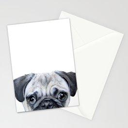 pug Dog illustration original painting print Stationery Cards