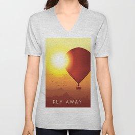 Fly Away on a Balloon Unisex V-Neck
