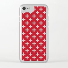 Criss Cross | Plus Sign | Red and White Clear iPhone Case