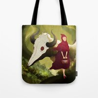 red hood Tote Bags featuring red hood by R,oh