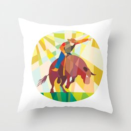 Rodeo Cowboy Bull Riding Pointing Low Polygon Throw Pillow