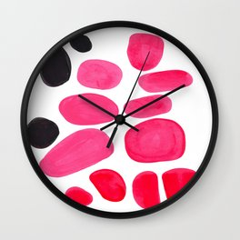 Abstract Minimalist Mid Century Modern Colorful Pop Art Pink Pastel Pebble Bubbles Wall Clock