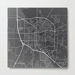 Denton Map, USA - Gray Metal Print