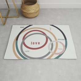 for Love || words & circles Rug