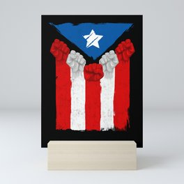 Raised Fists For Puerto Rico - Boricua Flag Mini Art Print