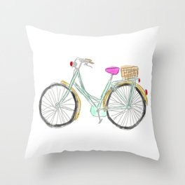 My new bike - digital watercolor bike art Throw Pillow